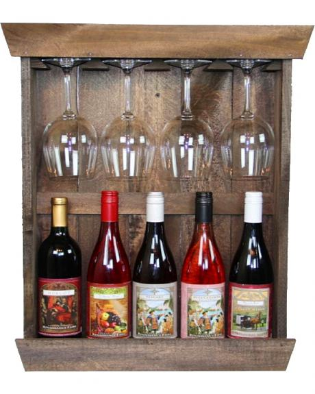 Delighted Home Shadowbox 5 Bottle Shelf with 4 Glass Holder