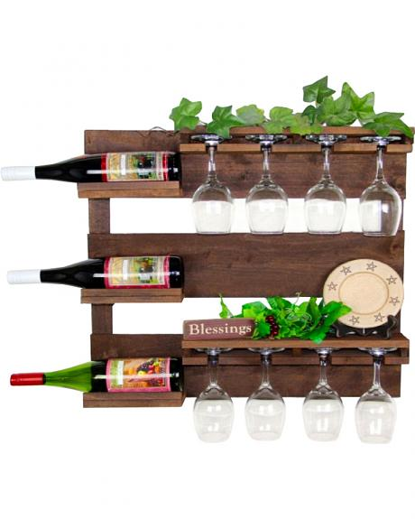 Delighted Home 3 Bottle Wine Bar with 8 Glass Holder