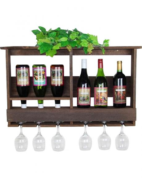Delighted Home 6 Bottle Wine Bar with 6 Glass Holder