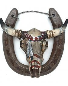 Lucky Horse Co. Painted Cow Skull Horseshoe Wall Decor