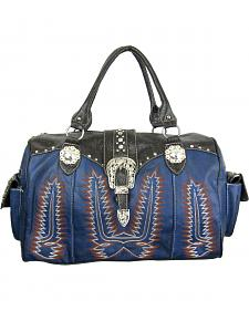 Savana Women's Navy Duffle Bag with Tooled Trim and Stitching