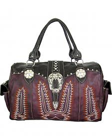 Savana Women's Purple Duffle Bag with Tooled Trim and Stitching