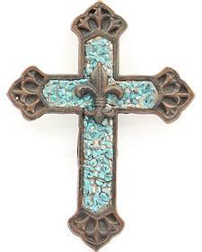 Western Moments Turquoise Stone Fleur-De-Lis Wall Cross