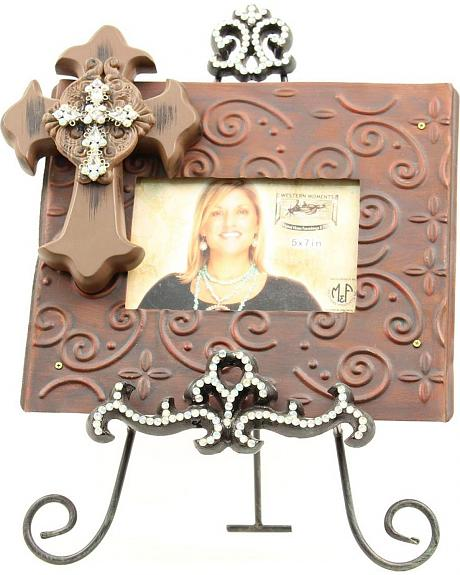 Western Moments Scrolling Cross Photo Frame with Rhinestone Easel  - 5