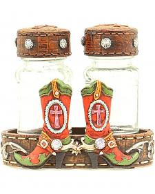 Western Moments Cowgirl Boots Salt & Pepper Caddy