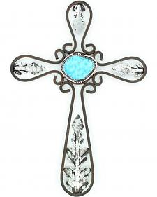Western Moments Turquoise Stone Metal Wall Cross