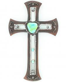 Western Moments Turquoise Stone Mirror Cross Wall Decor