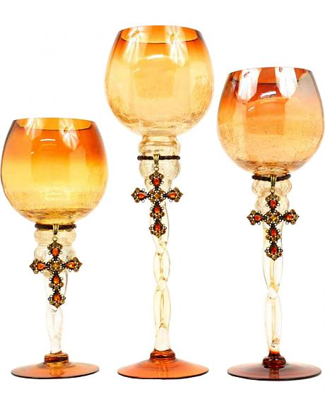 Western Moments Amber Glass Votive Holders - Set of 3