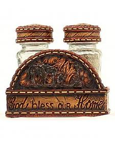 Western Moments God Bless Our Home Salt & Pepper Shaker Napkin Caddy