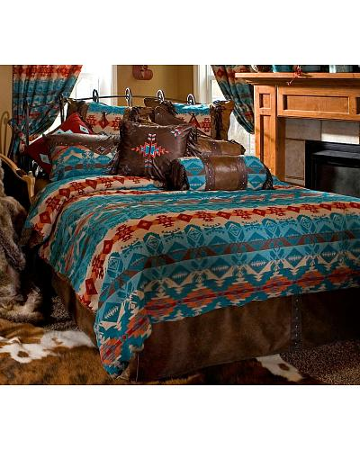 Carstens Turquoise Chamarro Twin Bedding 5 Piece Set Western & Country JB2075