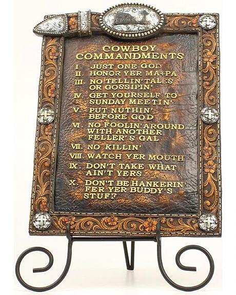 Western Moments Cowboy Commandments with Easel