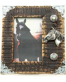 """Western Moments Rustic Wooden Horse Head Photo Frame - 4"""" x 6"""""""