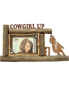 "Western Moments Cowgirl Up Wooden Log Photo Frame - 4"" x 6"""