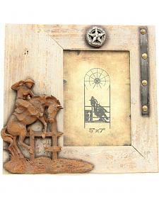 "Western Moments Rustic Bucking Horse Wooden Photo Frame - 5"" x 7"""