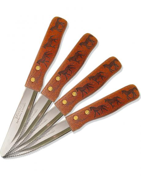 Moss Brothers Laser Engraved Three Horse Steak Knife 4-Piece Set