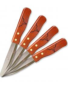 Moss Brothers Laser Engraved Longhorn Steak Knife 4-Piece Set