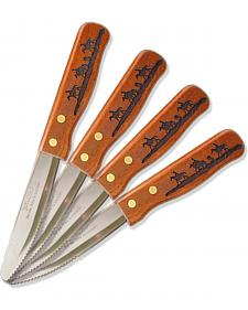 Moss Brothers Laser Engraved Riding Cowboys Steak Knife 4-Piece Set