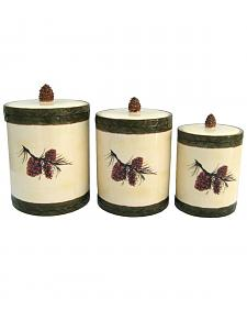 HiEnd Accents 3 PC Pine Cone Canister Set