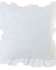 HiEnd Accents White Ruffled Flange Eyelet Pillow