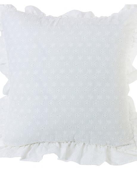 QW1005P2 RUFFLED FLANGE EYELET PILLOW, 18X18