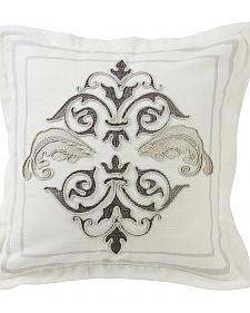 HiEnd Accents Cream Square Outlined Embroidered Design Pillow with Flange