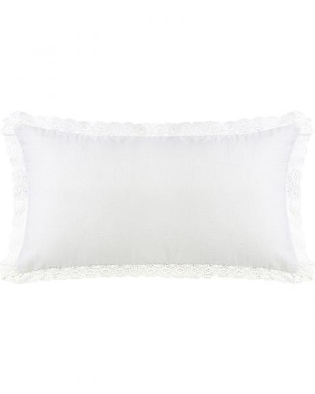 FB4900P4 EXTRA LONG OFF-WHITE LINEN AND OFF-WHITE LACE TRIM PILLOW, 21X34