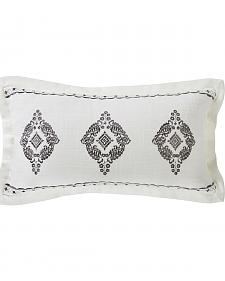 HiEnd Accents Cream Charlotte Oblong Grey Embroidered Lace Design Pillow