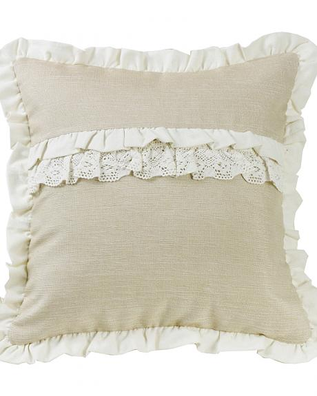 HiEnd Accents Charlotte Ruffle Trim and Lace Accent Pillow