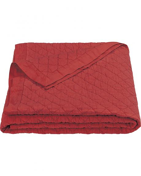 HiEnd Accents Diamond Pattern Red Linen King Quilt