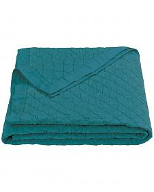 HiEnd Accents Diamond Pattern Turquoise Linen King Quilt