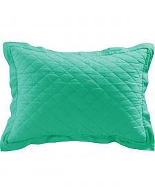 HiEnd Accents Diamond Pattern Quilted Turquoise Linen King Sham