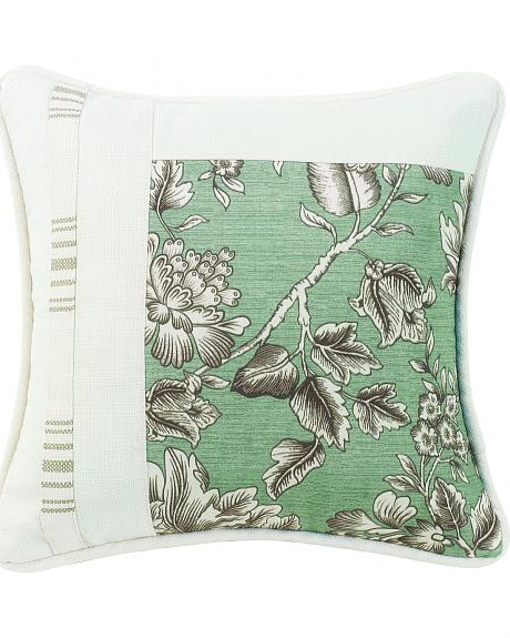 FB4160P1 HEA SQUARE PIECED PILLOW WITH FLORAL, STRIPE AND WHITE LINEN TEXTURE, 1