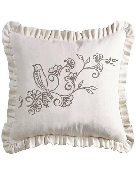 FB4160P3 HEA WHITE LINEN WEAVE RUFFLED PILLOW WITH EMBROIDERY DETAIL, 20