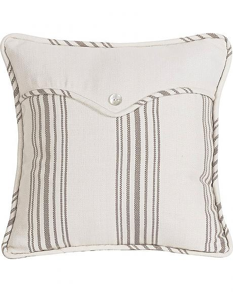 FB4160P4  HEA LINEN WEAVE ENVELOPE PILLOW-WITH STRIPE AND PEARLIZED BUTTON DETAI