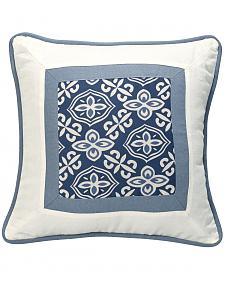 HiEnd Accents Multi Monterrey Blue and White Printed Throw Pillow