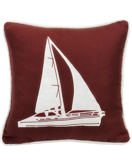 FB3970P7 HEA  RED SAILBOAT EMBROIDERY PILLOW, 18X18