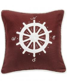 HiEnd Accents Red Compass Embroidery Pillow
