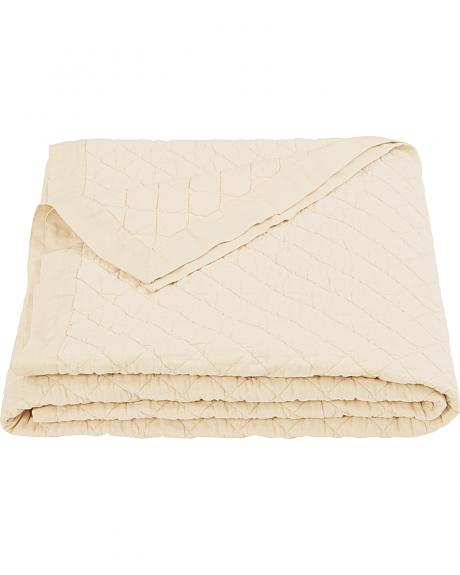 HiEnd Accents Diamond Pattern Cream Linen King Quilt