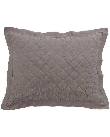 HiEnd Accents Diamond Pattern Quilted Grey Linen King Sham