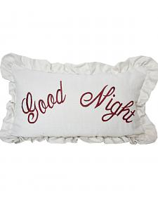 HiEnd Accents White Bandera Good Night Embroidery Pillow