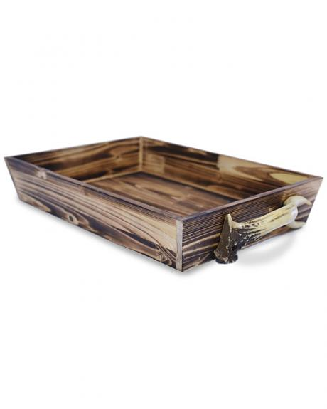 LD4001 HEA WOODEN TRAY WITH ANTLER HANDLES