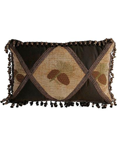 HiEnd Accents Pine Cone Pillow with fringe Western & Country LG1800P4