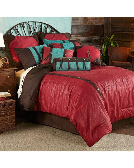 HiEnd Accents 7-Piece Super Queen Cheyenne Red Tooled Faux Leather Comforter Set