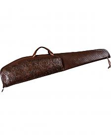 3D Chocolate Tooled Leather Rifle Case with Scope Pouch