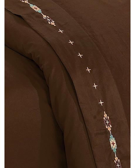 HiEnd Accents Navajo Embroidered Chocolate Sheet Set - Queen
