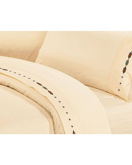HiEnd Accents Cross Embroidered Cream Sheet Set - Queen
