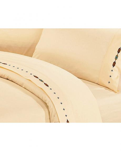 HiEnd Accents Cross Embroidered Cream Sheet Set - King