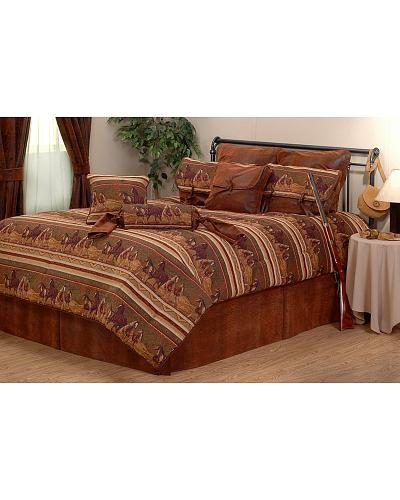 Decorate your favorite bedroom with this stylish and fashionable  lodge inspired comforter set  Features a running horse border with faux  leather. Horse Bedding Sets   Horse Home Decor at HaiHorsie com