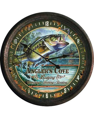Rivers Edge Anglers Cove Tin Wall Clock Western & Country #1029