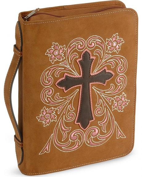 Cross Embroidered Leather Bible Cover